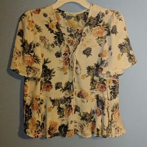 Off-White Floral Sheer Cropped Blouse